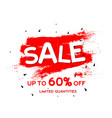 sale up to 60 limited quantities red paint backgr vector image vector image