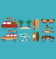 summer time cartoon set vector image