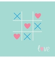 Tic tac toe game with cross and heart sign mark vector image vector image