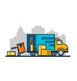 Unloading loading truck vector image vector image