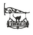 Vintage sign with black cat for outdoor vector image
