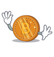waving bitcoin coin character cartoon vector image vector image