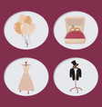wedding day icons cartoon vector image
