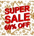 Winter sale poster with SUPER SALE 60 PERCENT OFF vector image vector image