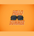 yellow retro background with hello summer and vector image