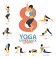 yoga poses for upper back stretches in flat design vector image