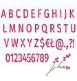 Alphabet of violet flowers fonts letters vector image