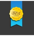 Vintage round badge with ribbon vector image