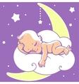 Baby sleeping on moon vector image vector image