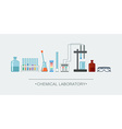 Banner chemical objects Chemical laboratory vector image