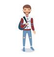 bearded young man wearing baseball jacket standing vector image vector image