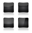 black square buttons with reflection vector image vector image
