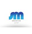 blue gradient sm s m alphabet letter logo vector image vector image