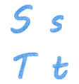 Blue sketch font set - letters S T vector image vector image