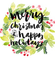 Christmas card Watercolor painting Hand lettering vector image vector image