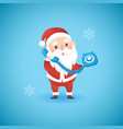 christmas funny santa claus holding blue old phone vector image vector image