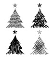 Christmas trees with drawing structure vector image vector image