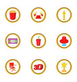 cinema club icons set cartoon style vector image vector image