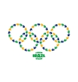 circles with hand prints using Brazil flag colors vector image vector image