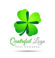 Clover with four leaves sign icon Saint Patrick vector image vector image