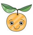 Colored crayon silhouette of happy cartoon orange