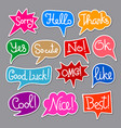 colorful chat stickers vector image vector image