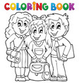 coloring book pupil theme 1 vector image vector image