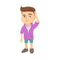 confused caucasian boy scratching head vector image vector image