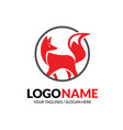 creative fox with circle logo template vector image vector image