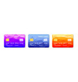 credit cards set multicolor template vector image vector image
