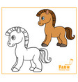 cute cartoon horse color and outlined on a white vector image vector image