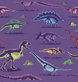 dinosaur vintage color seamless pattern vector image vector image