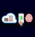 download knowledge from cloud to brain with mobile vector image