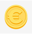 euro sign on gold coin vector image vector image