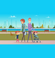 family walk in city park happy parenthood cute vector image
