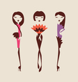 fashion girls posing isolated on light background vector image vector image