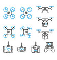 flying drone flat line style icons bicolor set vector image
