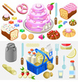 Food Set Candy and Dairy 3D Isometric vector image