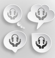 headphones in hands White flat buttons on gray vector image vector image