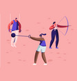 high jump vaulting horse core shot bow shooting vector image