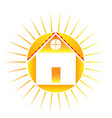 home with bright sun logo vector image vector image