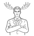 husband businessman and deer horns coloring vector image vector image