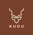 kudu head line outline logo icon vector image vector image