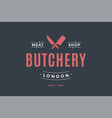 label of butchery meat shop vector image
