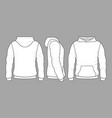 male hoodie sweatshirt in front back and side vector image vector image