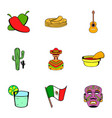 mexican tradition icons set cartoon style vector image vector image