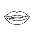 monochrome contour of smiling mouth vector image