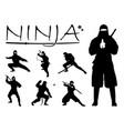 ninja silhouette set vector image vector image