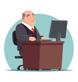 Old Adult Businessman Work Computer Table vector image vector image