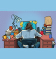 pop art man with headphones in workplace vector image